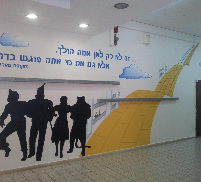 קיר במסדרון בבית ספר יסודי