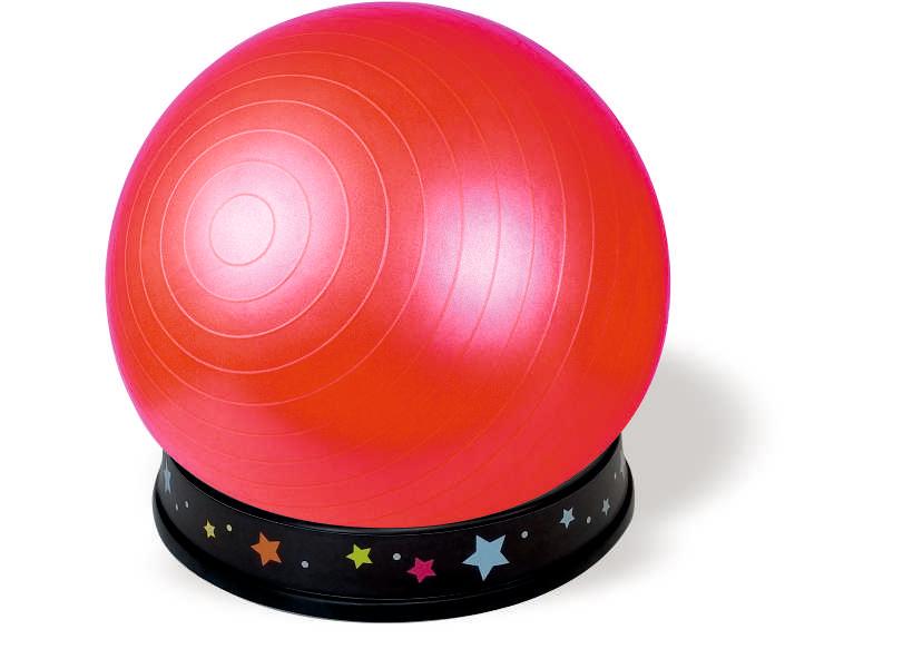כדור ישיבה אדום- בסיס שחור- כוכבים