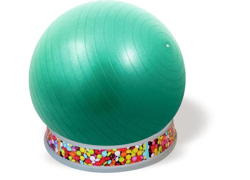 כדור ישיבה ירוק-בסיס אפור- סוכריות