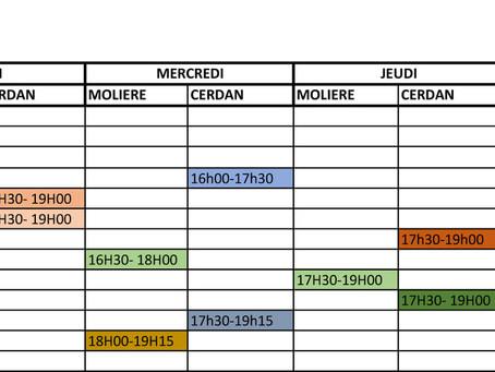 Planning des entraînements à partir du 04.01.2021