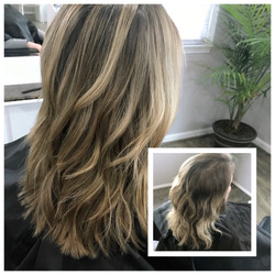 Before and After Hair with High and Low Lights