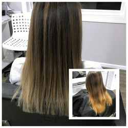Before and After Brunette Color Correction and Root Melt