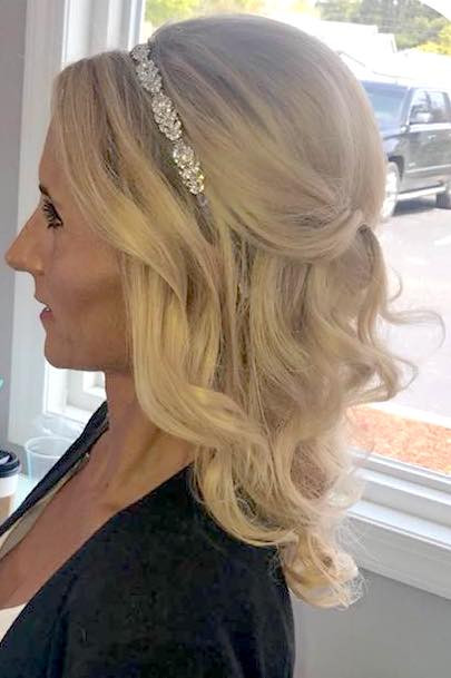 Bridal Hairstyling Half Up Half Down with Curls