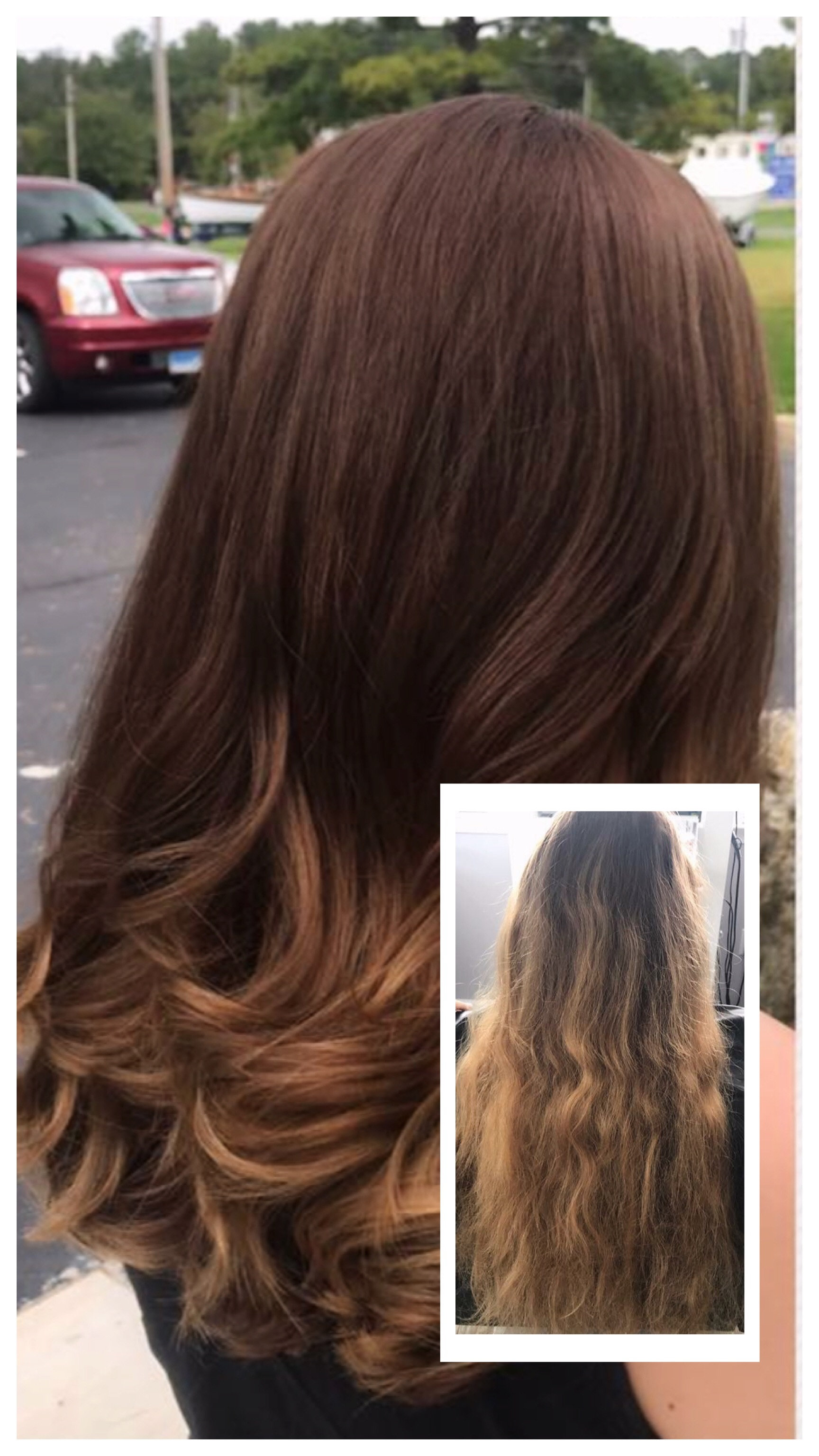 Before and After Hair Color Root Melt
