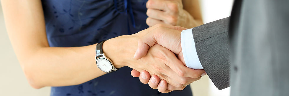 Businessman and woman shake hands as hel