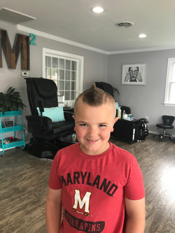 Boy's modern haircut and styling