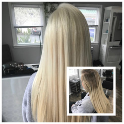 Before and After Platinum Blonde Hair Root Color and full foil highlights