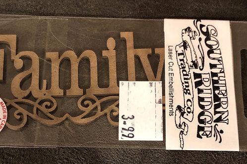 Family Swirl Word Chipboard