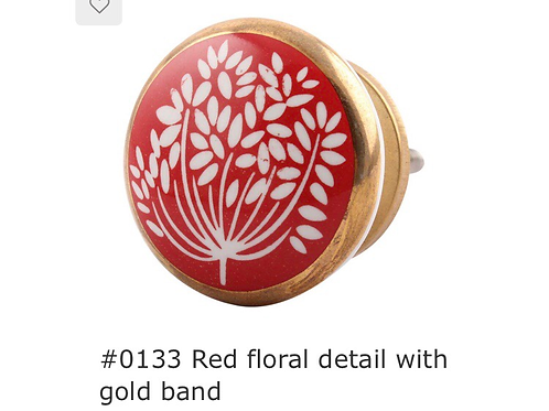 Red Floral Knob 0133