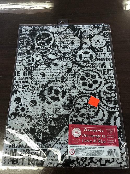 """8.25"""" x 11.5"""" Gear Rice Paper DFSA4171"""