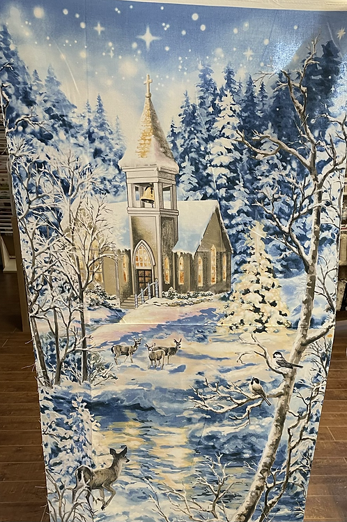 Deer and Church Panel 23-1/2x43