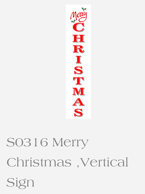 """S0316 Merry Christmas Vertical Sign Stencil 36"""""""