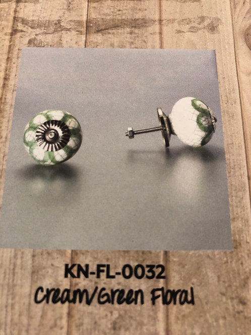 Cream/Green Floral Knob KN-FL-0032