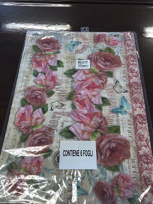 """1 Sheet Roses Rice Paper 19"""" x 13"""" DFS268"""
