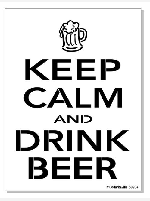 "S0234 Keep Calm Drink Beer 12""x16"""