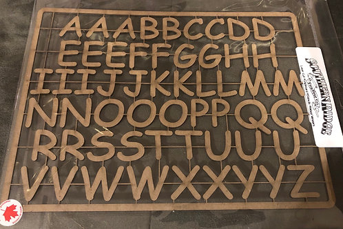 Comic Sans Alphabet Chipboard