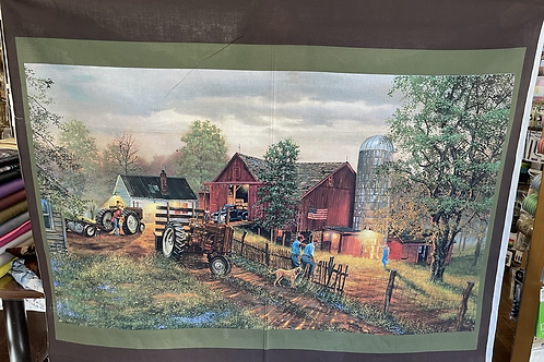 Barn with Tractor 43x36-1/4