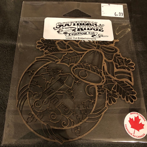 Detailed Christmas Wreath Chipboard
