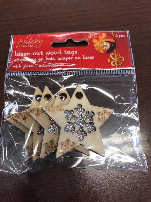 Star Laser Cut Wood Tags WX232
