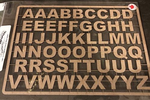 Arial Alphabet Sheet Chipboard