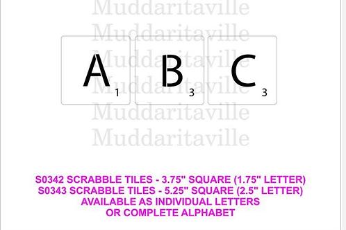 """Scrabble Tiles stencil set for 5.25"""" squares"""