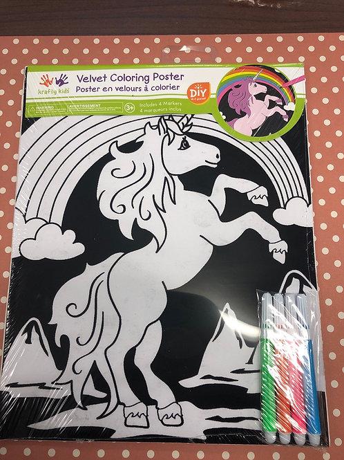 CK140L Velvet Coloring Poster Unicorn