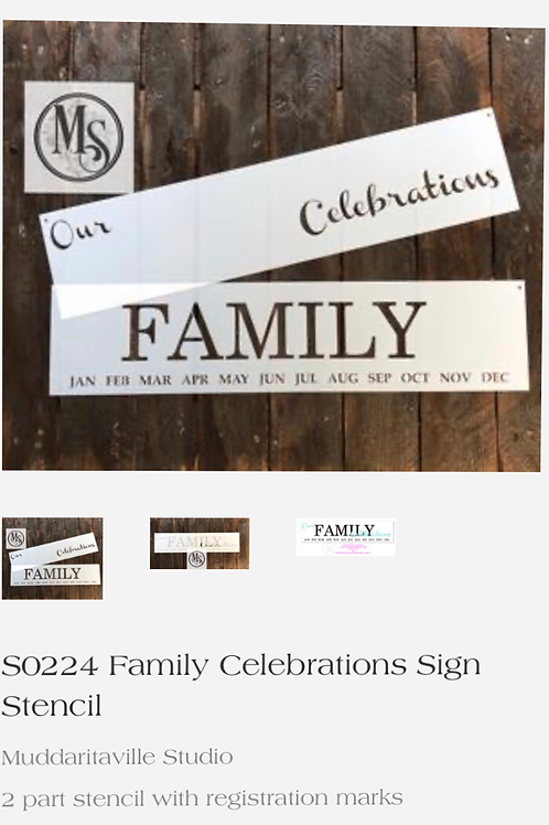 S0224 Family Celebrations Sign Stencils