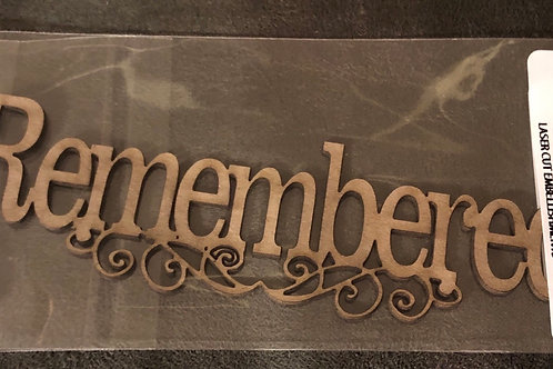 Remembered Swirl Word Chipboard