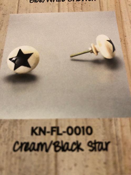 Cream/Black Star Knob KN-FL-0010
