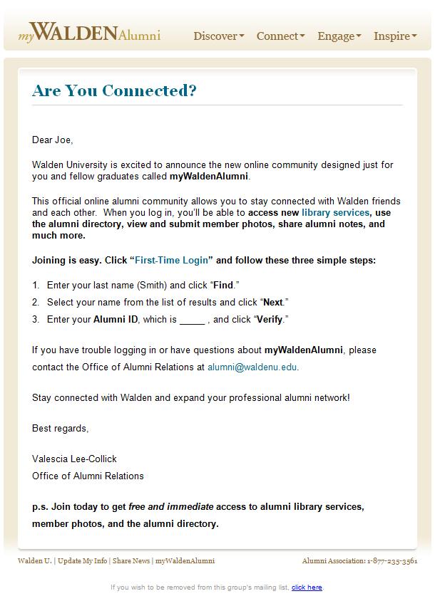 walden university emails
