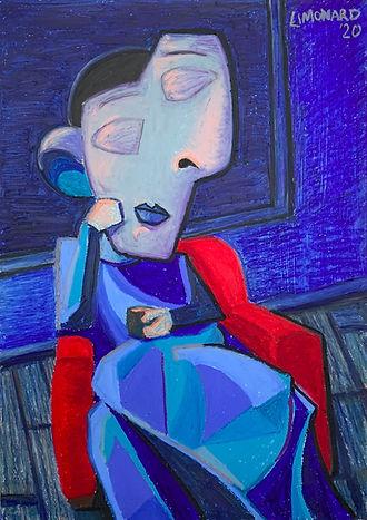 Zelfportret in stoel (2020) _ Oliepastel