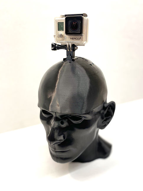 binaural head microphone with gopro camera mounted on top