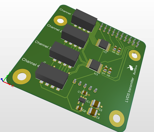 LVDS transmitter to connect diyinhk xmos board to baffless amplifier