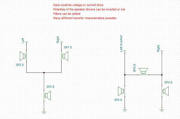 circuit diagram of posible configurations of single speaker stereo