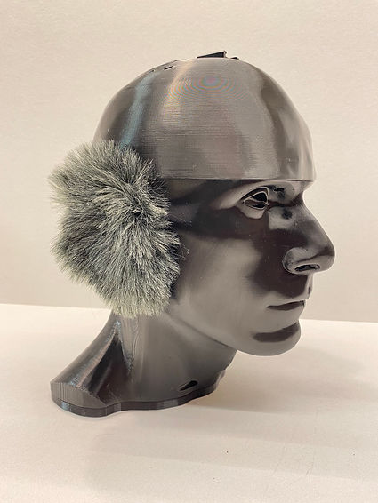 binaural microphone head with wind muffs for wind noise reduction for best sound possible