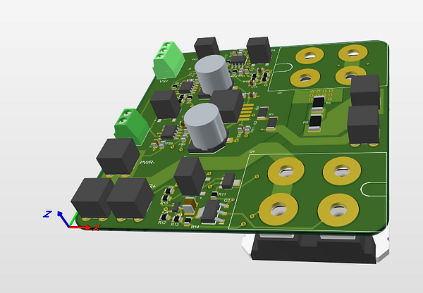 Current drive amplifier board with error correction and minimal bias with mosfet transistors