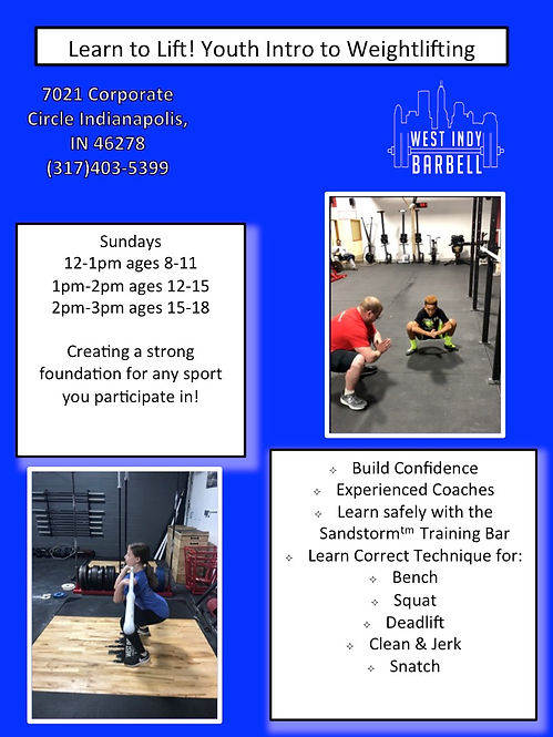 Learn to Lift! Youth Intro to Weightlifting