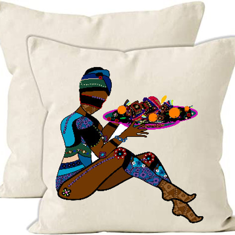Canvas Cushion Cover Heat Printed-Woman in ethnic style with a delicious meal on