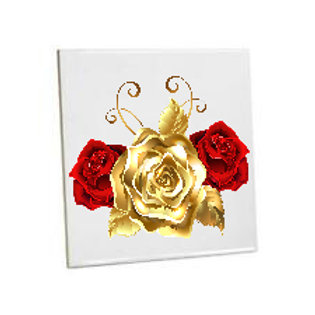 Bathroom Tiles Heat printed  Gold Rose flower