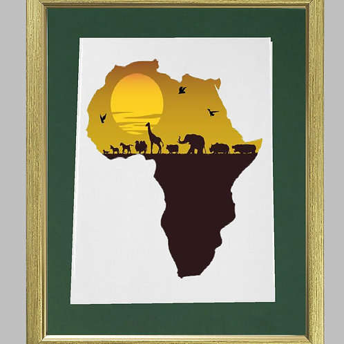 Picture Framed Heat Printed African Map
