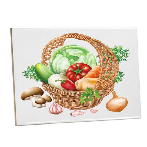 Heat Pressed Printed Kitchen Tile Basket of veg