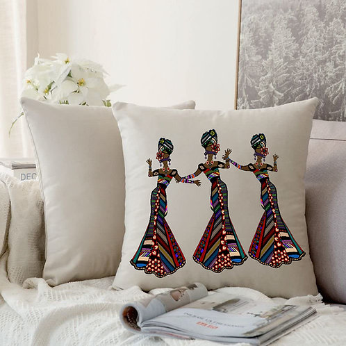 Cushion Cover Printed-Woman in ethnic style dancing