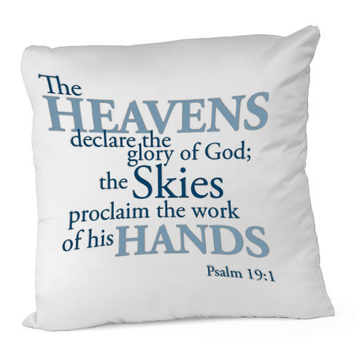 Heat Printed Canvas Cushion Cover - Bible verse Ps 19-1