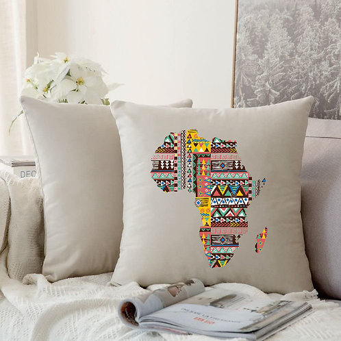 Cushion Cover Heat Printed Map of African in Ankara Style