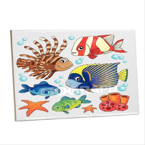 Printed Bathroom wall Tiles-fish coral reef