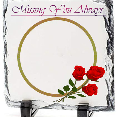 Printed Missing you Message on Rock Slates