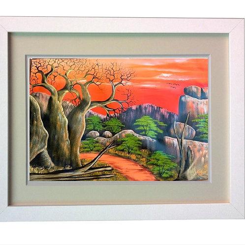African village Artwork  Heat Printed