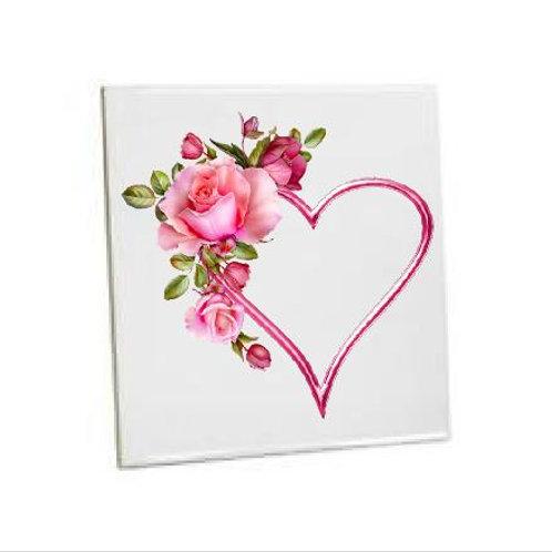 Summer Flower of Pink Heart Love Printed Bathroom Tiles