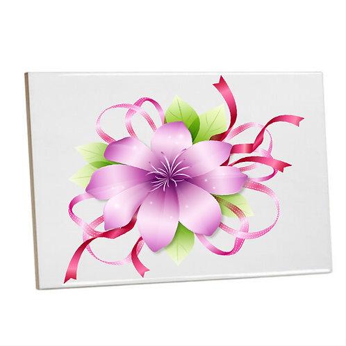 Purple Ribbon Flower Heat Printed Bathroom Tiles