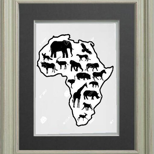 African Map of Animals Heat Printed on Sublimation Rectangle Ceramic Tile